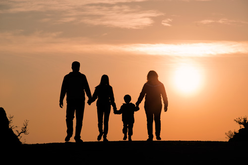 family silhouette at sunset - family wellness program - the aviary recovery center intensive outpatient program IOP near St Louis Missouri