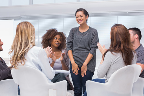 woman having a breakthrough in group therapy - treatment approach - aviary recovery center - st. louis intensive outpatient treatment - missiouri iop - drug and alcohol rehab
