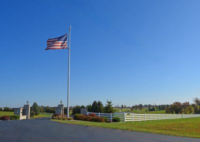United States flag flying at entrance to The Aviary Recovery Center
