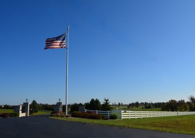 American flag flying at the entrance to The Aviary Recovery Center