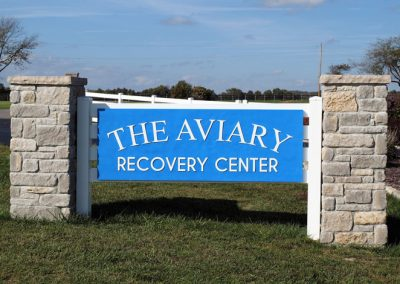 The Aviary Recovery Center front gate sign - st. louis missouri drug and alcohol addiction treatment center